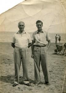 grandad and tony on the beach