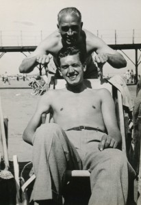 grandad and tony on the beach 2