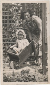 mum in a wheelbarrow